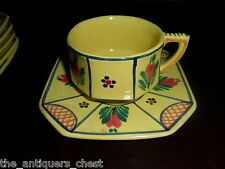 HENRIOT QUIMPER soleil yellow 6 cups/saucers, 3 with man & 3 with lady[a4]