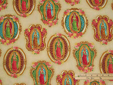 Inner Faith Lady of Guadalupe Ivry Religious Fabric by the 1/2 Yard   #15651-14