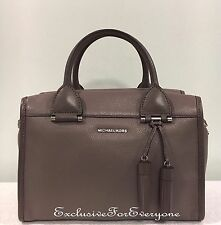 NWT Michael Kors Geneva Large Satchel Leather Cinder Handbag $378