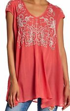 NWT JOHNNY WAS EMBROIDERED MARC V NECK TUNIC TOP CORAL PINK RAYON SZ L XL