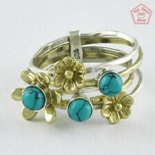 Sz. 9 US TURQUOISE STONE BRASS FLOWER STACK RING 925 HANDMADE STERLING SILVER