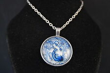 Lattice Look  PEACOCK  Cabochon  PENDANT -  NECKLACE  New!  Jewelry  USA SELLER!