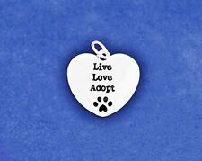 Pet Adoption Charm Live Love Adopt Pendant Paw Print Cat Dog Animal Rescue Lover