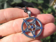 Metal Pewter Inverted Star Pentagram Pentacle Pendant Necklace A40