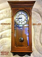 LARGE VINTAGE USA/GERMANY HOWARD MILLER CHIMIE ALARM WALL CLOCK W ANTIQUE WOOD