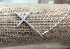 "925 Sterling Silver Sideways Cross Womens Pendant Necklace 16""-18"""