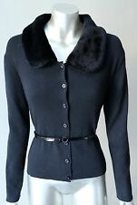 Mink Fur Collar Faux Cardigan Button Long Sleeve Knit Sweater Sz M  NWT