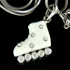 w Swarovski Crystal ~White Ice Skating Shoes Roller Skate Pendant Chain Necklace
