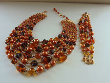 Vtg Signed CROWN TRIFARI 6 Strand Brown Glass Pearl Bead Necklace & Bracelet Set