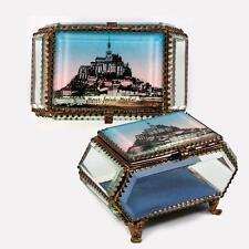 Antique French Eglomise Grand Tour Souvenir Jewelry Box, Casket: Mt Saint-Michel