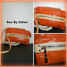 "Chloe "" See By Chloe "" Orange Patent Leather w/ Natural Leather Trim Messenger"