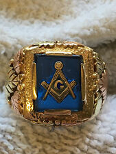 Estate Masonic Mason 10K Tri Color Gold Blue Sapphire Men's Ring Sz 11.5- 11.33g