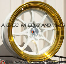 F1R F03 15x8 4x100/114.3 Et25 White/Gold Lip Rims Fits Bmw E30 318 325 1986-1991