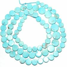 """T462k SLEEPING BEAUTY Blue Turquoise Graduated Round Coin 4-8mm Beads 18"""""""