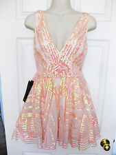 BEBE PINK IRIDSCENT SEQUIN MESH FIT & FLARE DRESS NEW NWT $198 MEDIUM M