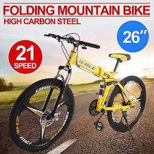 "26"" 3-Spoke Folding Mountain Bike MTB Bicycle Outdoor Dual Disc Brakes Men/Women"