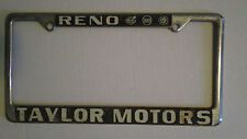 Reno Taylor Motors Volvo Saab Alfa Romeo Metal License Plate Frame Dealership