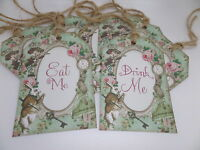 8 Alice in Wonderland Eat Me/Drink Me Floral Gift Tags/Toppers/Favors/Wedding