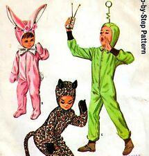 Vintage 60s BOYS & GIRLS EASTER BUNNY Cat SPACE COSTUME Sewing Pattern UNCUT 10
