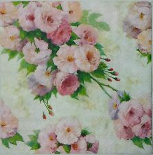 PINK FLOWERS BOUQUET  2 individual paper napkins for decoupage lunch size 3-ply