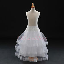 White 4 Layer Girls Kids Princess Petticoat Bridal Flower Girls Underskirt Slips