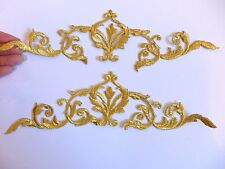 large gold patch applique motif iron on sew on embroidered trimming UK 22cm -5