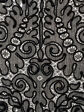 Antique 1820 Caen Black Silk Needle Lace Hand Made Vintage French Trim Insert