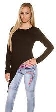 Sexy langarm Shirt Pullover Oberteil asymmetrisch Schwarz meliert Gr 34 36 38