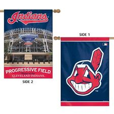 """CLEVELAND INDIANS PROGRESSIVE FIELD 28""""X40"""" DOUBLE SIDED BANNER FLAG WINCRAFT"""