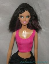2007 BARBIE TOP MODEL Muse Hair Wear TERESA LARA FACE Black Hair w/Pink Streaks