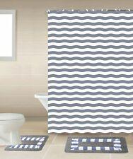 Striped Gray & White 15-Piece Bathroom Accessory Set 2 Bath Mats Shower Curtain