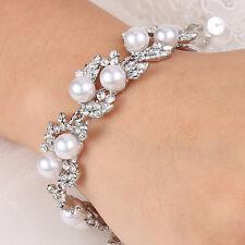 Wedding Bridal Bridesmaid Leaf Bracelet Bangle Cuff Pearl Austrian Crystal Clear