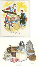 1 VINTAGE BUTTER PRESS CHURN PRINT 1 DUTCH STICKY BUNS DOUGH RECIPE NOTE CARD