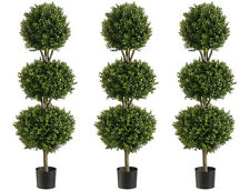 "3 Artificial 56"" Boxwood 3 Ball Topiary Tree W Pot In Outdoor Plant Patio Fake"