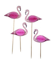 Flamingo food picks, flamingo cake toppers, flamingo party table decorations