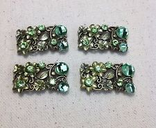 4 - 2 Hole Antique Gold Metal Green Rhinestone Slider Connectors USA