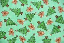 Santa Coming to Town 100% COTTON fabric by the YARD Gingerbread Christmas Tree G