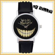New Grinning Cheshire Cat Alice In Wonderland We're All Mad Here Teeth Watch