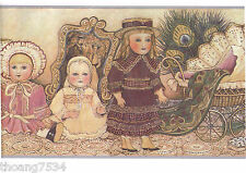 Victorian Antique Dolls Baby Buggies Fan Peacock Feather Pastel Wallpaper Border