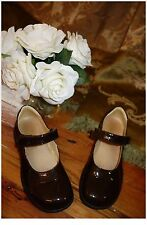 PRIMIGI GIRLS BROWN PATENT LEATHER MARY JANES SHOES SIZE 34