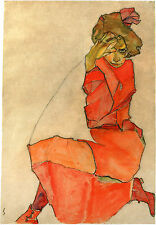 Egon Schiele Reproductions: Kneeling Girl in Orange-Red Dress - Fine Art Print