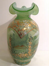 Fenton Glass Vase Green Cased Sheer Opaline Sponged 22k Gold Limited Edition