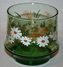 Vintage Signed Libbey L Daisy Raised Relief Daisy Green 9 oz Tumbler 3 Available