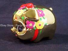 Small Gold Feng Shui Ceramic Lucky Good Luck Fortune Pig Piggy Coin Money Bank