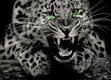 Framed Print - Wild Jaguar With Bright Green Eyes (Panther Picture Poster Art)