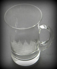 Crystal Glass Tankard ~ Etched Tall Ship ~ 16 Ounce Contents ..................&