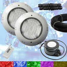2 x Swimming Pool LED Light RGB + Controller + Power Supply + Cable - Retro Fit