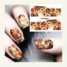 1 Sheet Nail Art Water Transfer Decal Manicure Sticker Multicolor Flower YZW8091