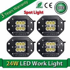 4X 24W Cree LED Work Light Offroad Spot Flush Mount Fog Lamp For Truck Jeep 4x4