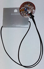 Allusions Multi Coloured Glaze Glass Circular Pendant & Leather Lace Necklace